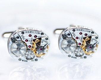 HAMILTON Steampunk Cufflinks - Luxury PINSTRIPE ETCHED 100% Matching Vintage Silver Watch Movement Men Steampunk Cufflinks Fathers Day Gift
