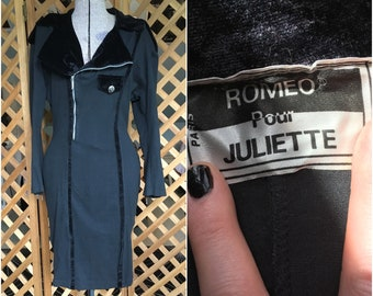 Vintage 1990s Womens Military Style Wiggle Dress by Romeo Pour Juliette Trad Goth Punk SMALL MEDIUM Moto Velvet Trim Fitted