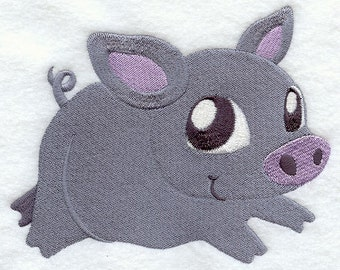 Pot Bellied Pig Embroidered Flour Sack Hand/DIsh Towel