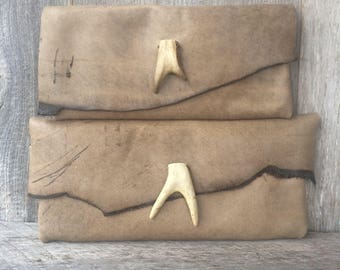 Leather Clutch Bag in Distressed Soft Taupe Cowhide with Deer Antler Fork - Rustic - Natural - Handbag - Gift for Her - by Stacy Leigh