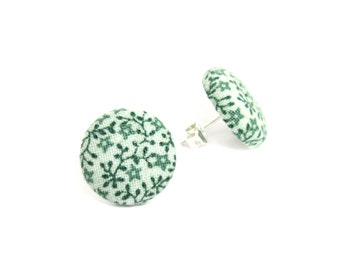 Round green earrings - bright green studs - floral button earrings - green fabric studs - tiny stud earrings - spring flower - vintage look
