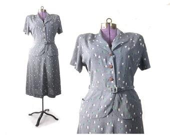robe des années 1940, années 40 bleu robe, des années 40 grande robe, grande robe des années 1940, robe vintage des années 40, des années 40 robe vintage, robe imprimée, robe de femme