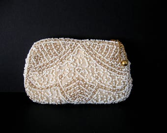Vintage Beaded Dance Clutch / Ivory Beaded Evening Purse / Evening Clutch / Wedding / Gift for Her