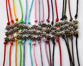 three silver star charms on waxed cotton cord - adjustable friendship bracelet- range of colours