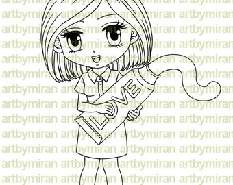 Digital Stamp - Nurse Nora(#160), Digi Stamp, Coloring page, Printable Line art for Card and Craft Supply