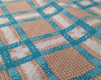 Vintage Nubby Windowpane Plaid Fabric
