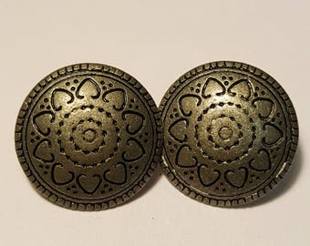 Set of Two Vintage Pewter Buttons