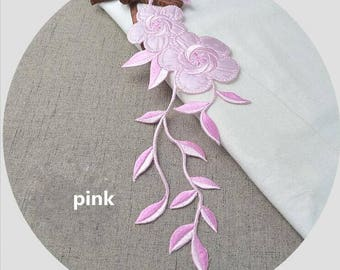 Flower Applique/ Embroidered Flower Applique/ Pink Flower Applique Elongated Design.Embroidery Rose Patches with Iron-on Backing