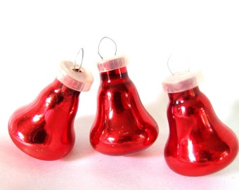 3 Vintage Christmas Ornaments, Small Red Bells, Feather Tree Ornaments