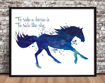 Running Horse watercolor painting print art quote Horseman English Riding Western Hunter Jumper inspiration Dressage Steeplechase blue ink