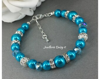 Turquoise Bracelet Set Destination Wedding Bridesmaid Gift Pearl Jewelry Maid of Honor Blue Necklace Summer Beach Wedding