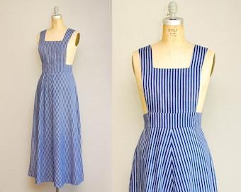 Vintage 70s Pinafore Blue + White Striped Dress / Bib Overall Retro Cotton Maxi Dress / Medium