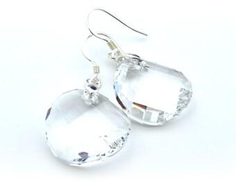 Sterling Silver Clear Swarovski Earrings, 18mm Swarovski Twist Pendant, Crystal Earrings, Wedding Jewelry, Bridesmaids Gift,