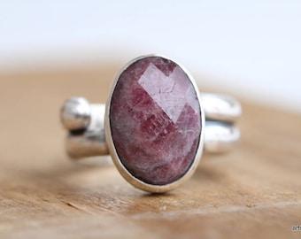 Natural Pink Tourmaline Ring. Tourmaline Statement Ring. Sterling Silver Ring. Oval Tourmaline Ring. October Birthstone
