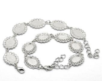 6 Cabochons oval lace + 6 glass cabochon bracelet