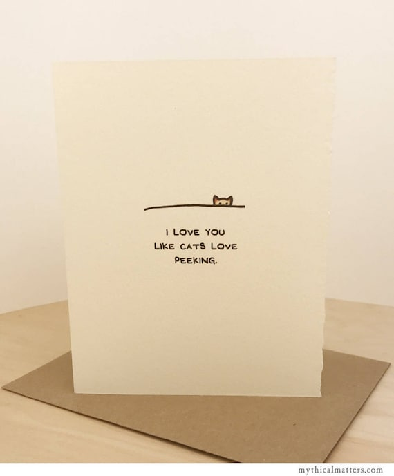 Love Card Cute Cats Peek Wishes Nice Sweet Friend Funny Adorable Edge Made in Canada Wholesale Cat Lover Animals