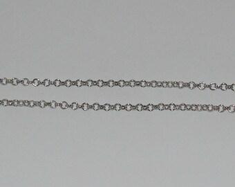 size 20cm rollo chain 3.8 mm silver matte - ref: CA 136