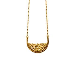 Water Necklace, Ocean Necklace, Wave Necklace, Layering Necklace, Shape Necklace, Simple Necklace, Unique Necklace, Geometric Necklace