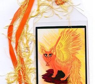Phoenix Cat Bookmark Fire Cat Bookmarker Elemental Fairy Cat Winged Cat Fantasy Cat Art Mini Bookmark