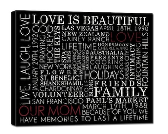 """Family wall art Typography """"ELITE"""" Series -  Words that describe your Dad, Family Gift, Canvas art personalized Words and phrases art, 20X20"""