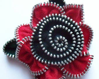 Red and Black Floral Brooch / Zipper Pin by ZipPinning 3169