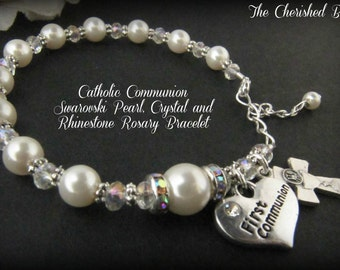 First Holy Communion Rosary Bracelet with Swarovski Pearls, Crystals and Rhinestones with Communion Rhinestone Heart