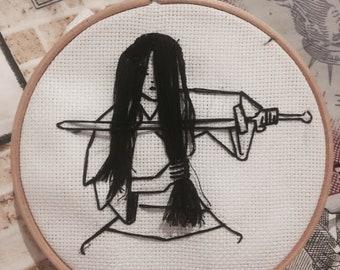 mulan inspired hand embroidered hoop art