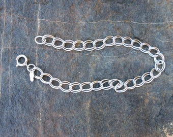 """STERLING CHAIN LINK Bracelet, 7 3/8 """" Long, Grams,"""