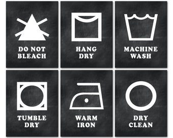 Laundry Room Wall Decor - Set of 6 PRINTs - Laundry Symbols Machine Wash Tumble Dry Warm Iron - Dry Clean Do not Bleach Hang Dry