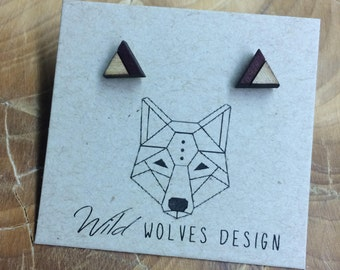 One-Third Wood Triangle Stud Earrings