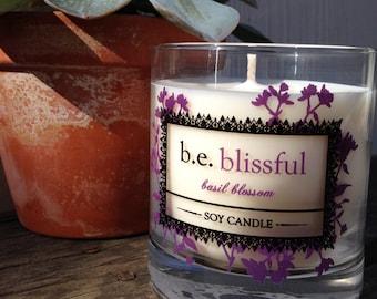 Basil Blossom, Soy Candle, Bliss, Glass Pillar, Vegan, Essential Oils