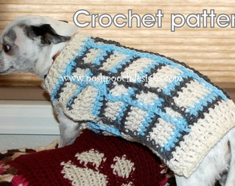 Instant Download Crochet Pattern - Plaid Dog Sweater - Small Dog Sweater -2-20 lbs