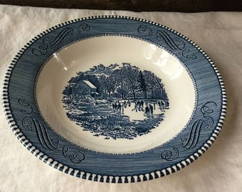 Royal China Soup Bowls Currier and Ives Blue and White Transferware / Underglaze Print/ Early Winter / USA