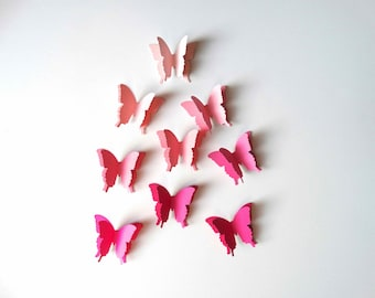 Pink Layered 3D Butterflies, baby shower decor, pretty in pink party, bridal shower decor, wall art