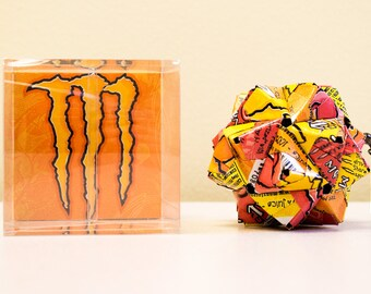 Juice Monster Origami Ornament (3 Mix).  Upcycled Recycled Repurposed Can Art // Valentines Day gift // weird gifts // I love you