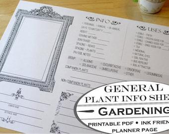Plant General Information Sheet - Printable Garden Planner Page for Garden Journals