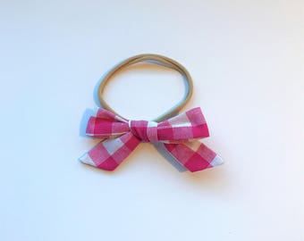 Pink Plaid // School Girl Bow