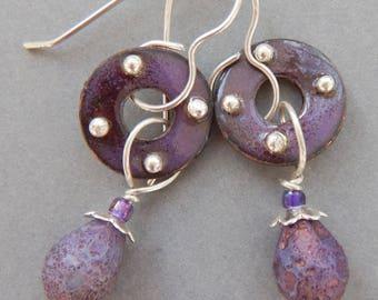 Earrings, Hand Enameled with Czech glass beads