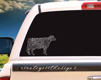 Dairy Cow Zentangle Vinyl Decal, Tumbler Decal, Car Decal, Dairy Cow, Zentangle, Cow, 4-H