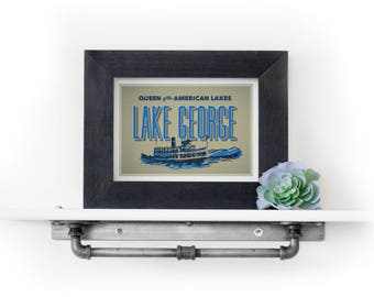 Lake George Print - Lake George Postcard - Adirondacks Print - Travel Print - Cabin Decor - Lake House Decor - Upstate New York Print