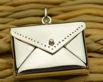 925 Sterling Silver Love Letter Envelope Real Locket Necklace Charm Pendant Keepsake 2676