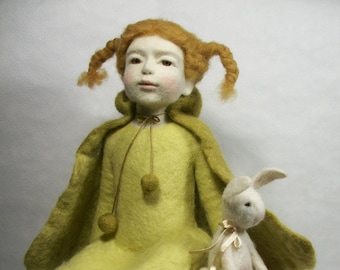 Needle Felted Doll Monica Art Doll Autor Doll Collectible  Interior Doll Figurine Sculpture Hand made Doll  Autor Doll Wool sculpture