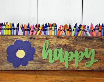 HAPPY sugar mold organizer, Art supply organizer, Sugar mold crayon holder, Craft room organizer, Rustic desk caddy, Crayon caddy