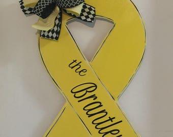 Childhood Cancer Door Hanger, Childhood Cancer Awareness, Cancer Survivor, Yellow Ribbon, In Memory Of