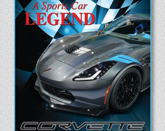 Corvette garage car sign, sports car legend, Corvette, Checkered Flag car sign, Corvette wall decor, Racing sports car sign, Silver Corvette