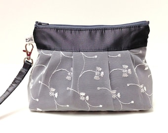 Bridesmaid Wedding Clutch Zippered Wristlet Purse - White Lace on Charcoal Gray Taffeta