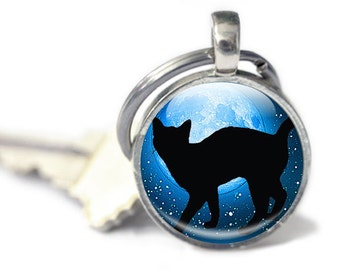 Cat Keyring - Glass Cat Keyring - Cat Gifts - Blue Keyring - Black Cat Keyring (CKG12)