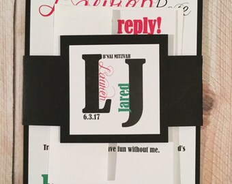 Bar/Bat/B'nai/B'not Mitzvah Invitations - Layered - Pink and Green