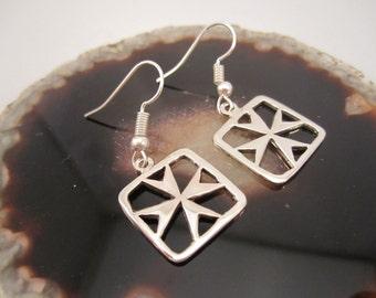 925 Silver Malta Cross/ Maltese Cross Square Original Design hook earrings