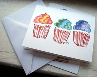 Cupcake Notecards, Rainbow Swirl Cupcake Art Cards, Set of 12